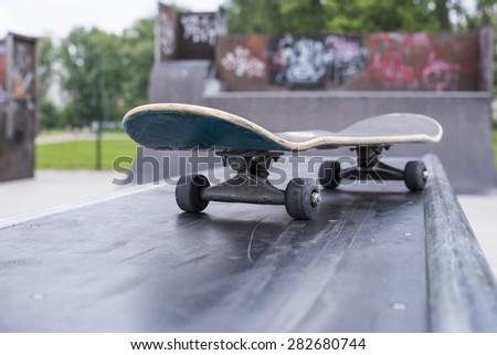 Close up of skate board in the skateboard park - stock photo