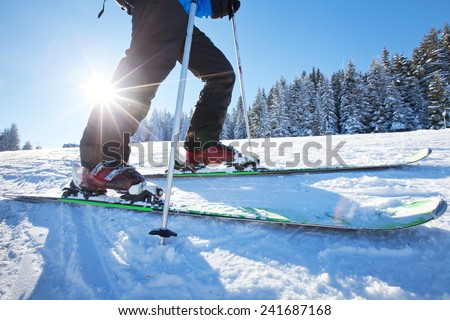 close up of ski low angle - stock photo