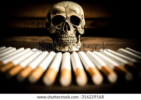 Close-up of  skull Tobacco Cigarettes on wood,No smoke concept - stock photo