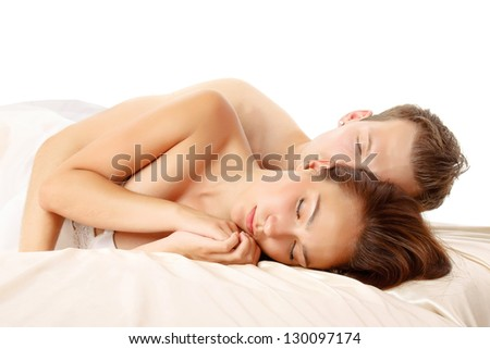 Close up of sleeping young couple - stock photo