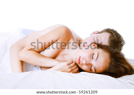 Close up of sleeping young couple