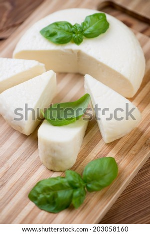 Close-up of sliced adygea cheese and green basil, vertical shot