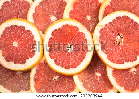 Close up of sliced grapefruit as a background