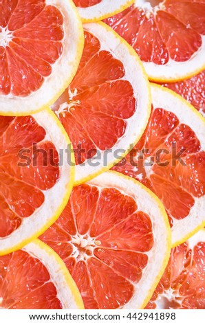 Close up of sliced grapefruit as a background.
