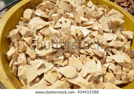 Close up of slicing Eurycoma longifolia or long jack (Tongkat ali) is a flowering plant in the family Simaroubaceae, native to Indonesia, Malaysia, and,  Thailand, Vietnam, and Laos - stock photo