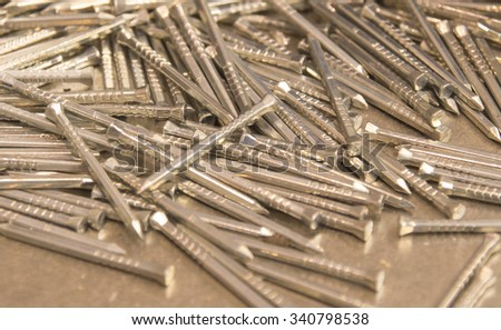 Close up of small metal nails.