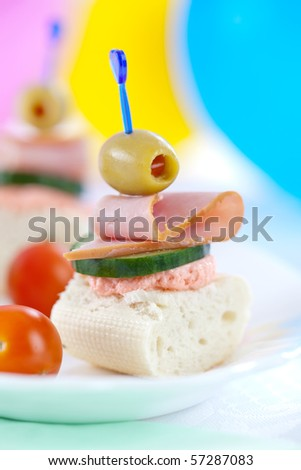 Close up of small sandwiches perfect for party food - stock photo