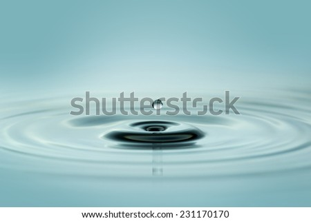 close up of small water droplet over wavy surface - stock photo