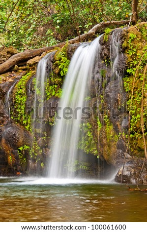 close up of small waterfall - stock photo