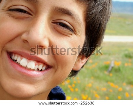 Close up of smiling boy against poppy field - stock photo