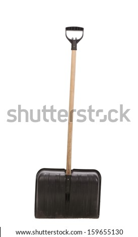 Close up of snow shovel. Isolated on a white background.
