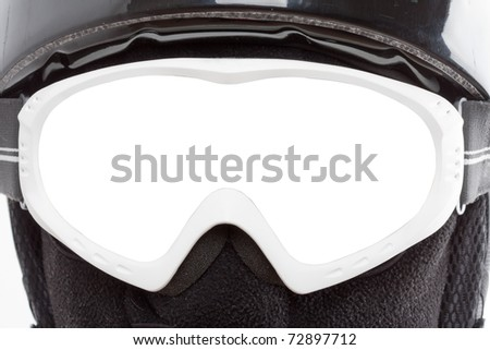 Close-up of snowboarder in balaclava. Isolated glasses - stock photo