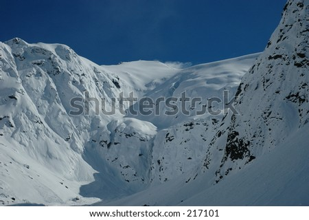 close up of snowcapped mountains in New Zealand