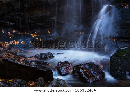 Close up of Soco Falls waterfall in Smoky Mountains National Park of Tennessee and North Carolina