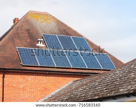 Close Up Of Solar Panels On Roof Home; England; UK