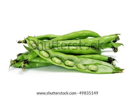 close up of some broad bean pods with the beans inside - stock photo