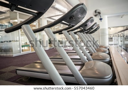 Close up of some Treadmills in the gym