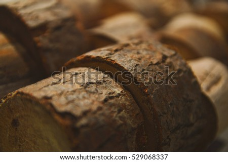 close up of some wood rounds with boh keh abstract background texture