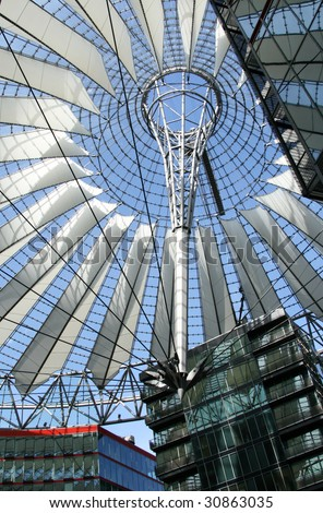 Close-up of Sony Center dome located at Potsdamer platz, Berlin