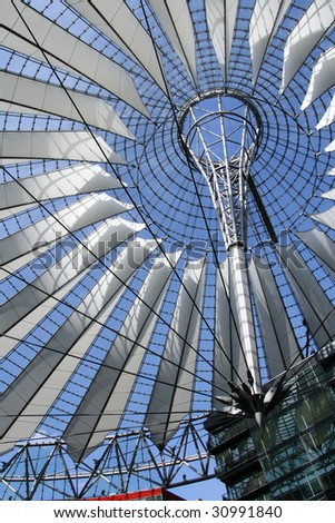 Close-up of Sony Center dome located at Potsdamer platz, Berlin - stock photo