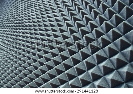 Close up of sound proof coverage in music studio - stock photo