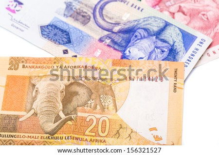 Close up of 20 50 100 South African currency the Rand isolated on white background