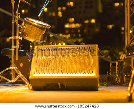 Close up of speakers in concert hall - stock photo