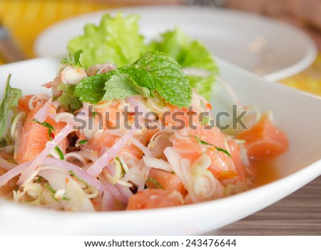 close up of spicy salmon salad with  mixed  vegetable - stock photo