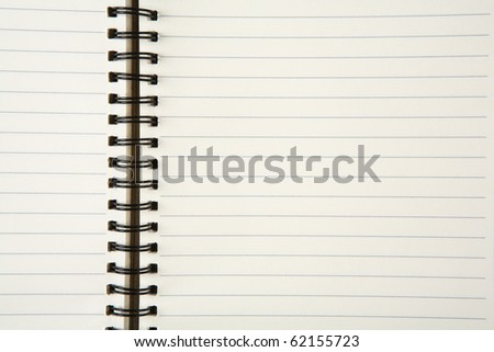 Close up of spiral note book, can use as a background.