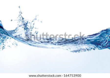 Close up of splash of water forming flower shape, isolated on white background - stock photo