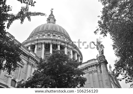 Close up of St. Paul Cathedral Dome in London, UK - stock photo