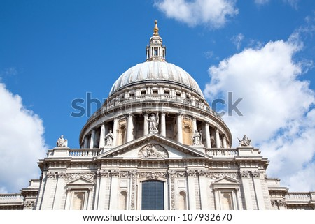 Close up of St.Paul Cathedral Dome London England UK - stock photo