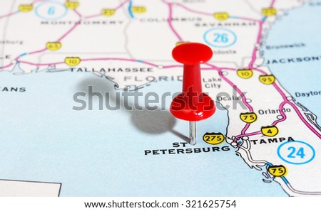Close up of  St Petersburg  Florida   USA map with red pin - Travel concept