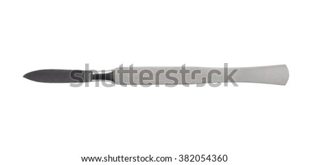 Close up of stainless steel surgical scalpel isolated on white background. Clipping path included. - stock photo