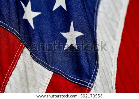 Close up of stars and stripes of the American Flag