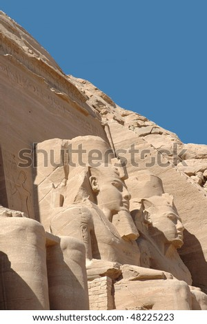 Close up of statue in Abu Simbel temple in Egypt - stock photo