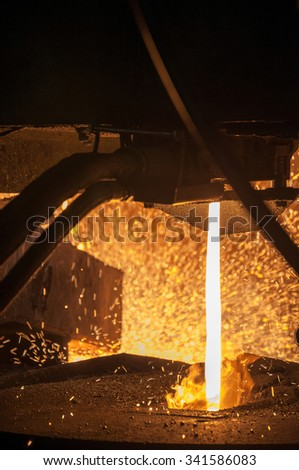 close up of steel casting at steel works