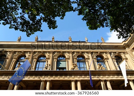 Close up of Stock exchange in Frankfurt am Main, Germany. - stock photo