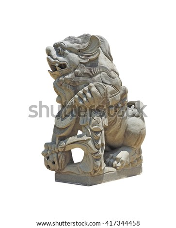 Close up of stone lion sculpture on white background, Clipping path included.