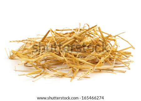 close up of straw isolated on white background - stock photo