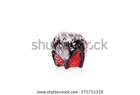 close up of strawberry and chocolate syrup dessert on white back - stock photo