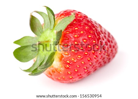Close-up of strawberry. Isolated on white.