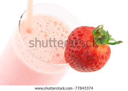 Close-up of strawberry protein cocktail on white background. - stock photo