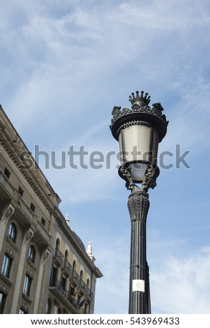 Close up of street lamp in Barcelona, Catalonia, Spain.