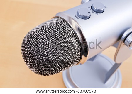 Close Up of Studio Microphone Noise Reduction Mic Head - stock photo