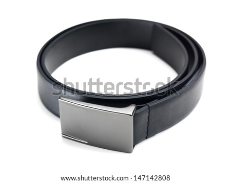 Close up of stylish fashionable black leather belt - stock photo