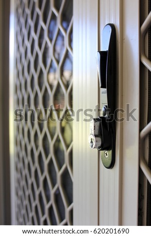 Close up of suburban security sliding door