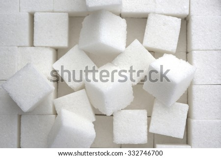 close up of sugar cubes - stock photo
