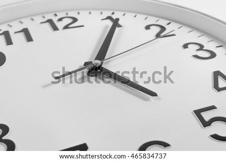 close up of surface of clock ,black and white concept.