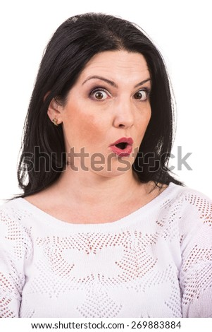 Close up of surprised woman face isolated on white background - stock photo